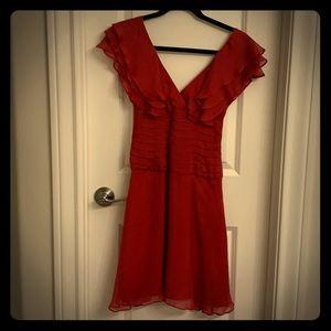 BEBE red silk coattail dress size 0